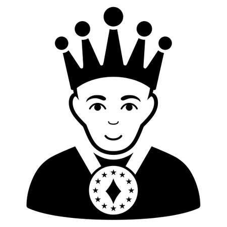 King vector icon. Flat black symbol. Pictogram is isolated on a white background. Designed for web and software interfaces. Illustration