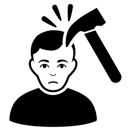 symbol victim: Murder With Hammer vector icon. Flat black symbol. Pictogram is isolated on a white background. Designed for web and software interfaces.