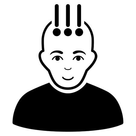 cranial: Neural Interface vector icon. Flat black symbol. Pictogram is isolated on a white background. Designed for web and software interfaces.