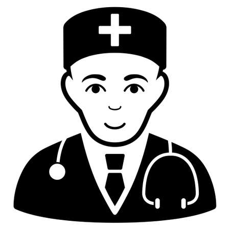 auscultation: Physician vector icon. Flat black symbol. Pictogram is isolated on a white background. Designed for web and software interfaces.
