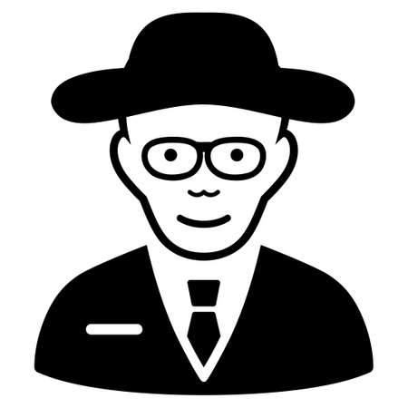 physicist: Scientist vector icon. Flat black symbol. Pictogram is isolated on a white background. Designed for web and software interfaces.