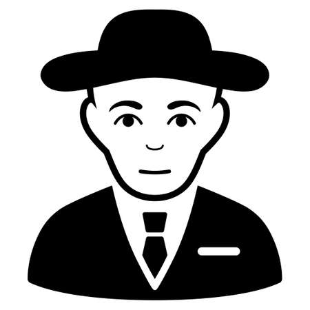 the fbi: Secret Service Agent vector icon. Flat black symbol. Pictogram is isolated on a white background. Designed for web and software interfaces.