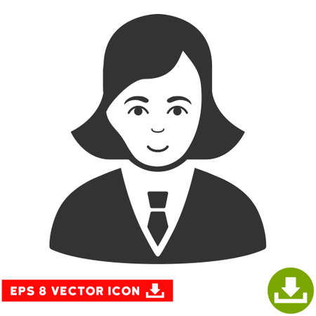 gender identity: Vector Business Lady EPS vector icon. Illustration style is flat iconic gray symbol on a transparent background.