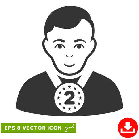 2nd: Vector 2nd Prizer Sportsman EPS vector icon. Illustration style is flat iconic gray symbol on a transparent background.