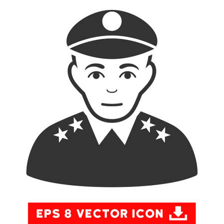 general: Vector Army General EPS vector pictogram. Illustration style is flat iconic gray symbol on a transparent background.