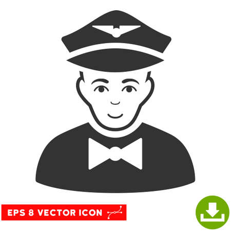 Vector Airline Steward EPS vector icon. Illustration style is flat iconic gray symbol on a transparent background.