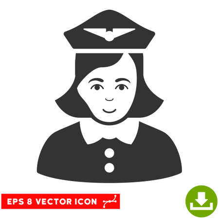 Vector Airline Stewardess EPS vector icon. Illustration style is flat iconic gray symbol on a transparent background. Illustration