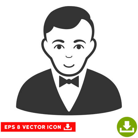 moneymaker: Vector Dealer EPS vector icon. Illustration style is flat iconic gray symbol on a transparent background.