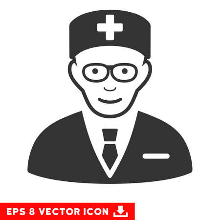 eps vector icon: Vector Head Physician EPS vector icon. Illustration style is flat iconic gray symbol on a transparent background.