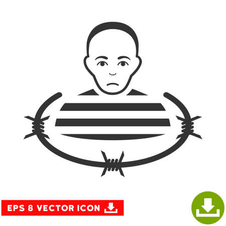 prison guard: Vector Isolated Prisoner EPS vector icon. Illustration style is flat iconic gray symbol on a transparent background.