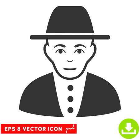 hasidic: Vector Jew EPS vector pictogram. Illustration style is flat iconic gray symbol on a transparent background.