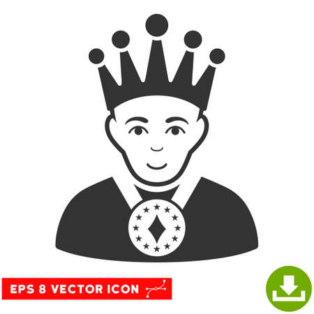 czar: Vector King EPS vector icon. Illustration style is flat iconic gray symbol on a transparent background.