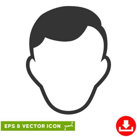 somebody: Vector Man Face Template EPS vector pictogram. Illustration style is flat iconic gray symbol on a transparent background. Illustration