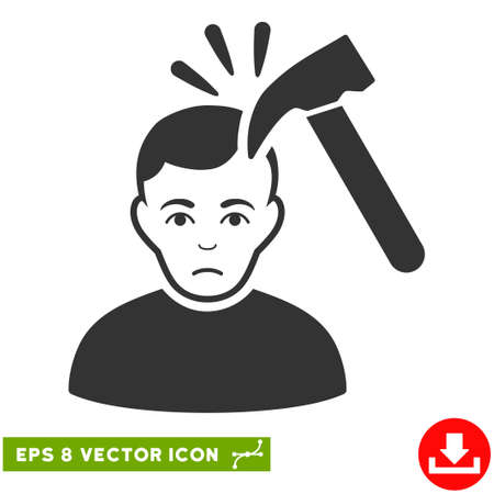 Vector Murder With Hammer EPS vector pictograph. Illustration style is flat iconic gray symbol on a transparent background.