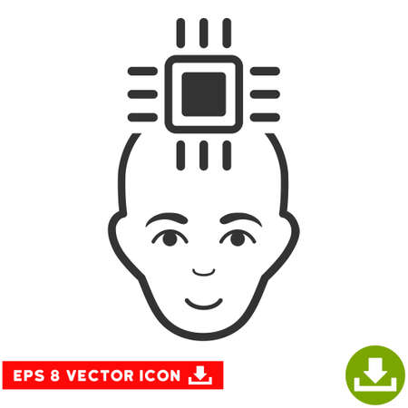 cranial: Vector Neural Computer Interface EPS vector pictogram. Illustration style is flat iconic gray symbol on a transparent background. Illustration
