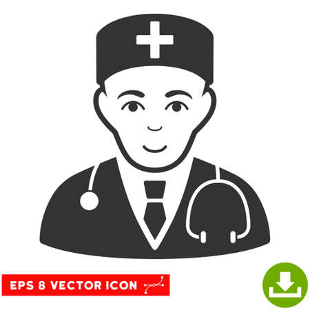 auscultation: Vector Physician EPS vector icon. Illustration style is flat iconic gray symbol on a transparent background.