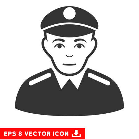 bobby: Vector Soldier EPS vector pictograph. Illustration style is flat iconic gray symbol on a transparent background.