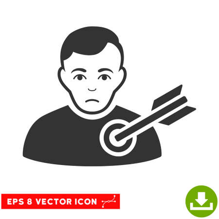 Vector Target Man EPS vector icon. Illustration style is flat iconic gray symbol on a transparent background. Ilustrace