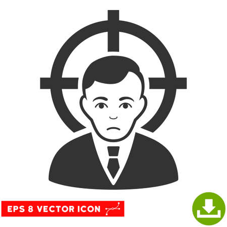symbol victim: Vector Victim Businessman EPS vector pictogram. Illustration style is flat iconic gray symbol on a transparent background.