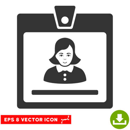 Vector Woman Badge EPS vector pictogram. Illustration style is flat iconic gray symbol on a transparent background.