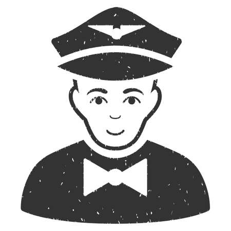 Airline Steward grainy textured icon for overlay watermark stamps. Flat symbol with dust texture. Dotted vector gray ink rubber seal stamp with grunge design on a white background. Illustration