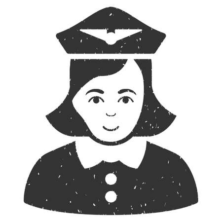 Airline Stewardess grainy textured icon for overlay watermark stamps. Flat symbol with dirty texture. Dotted vector gray ink rubber seal stamp with grunge design on a white background. Illustration