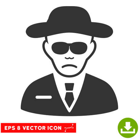 the fbi: Vector Security Agent EPS vector pictogram. Illustration style is flat iconic gray symbol on a transparent background. Illustration