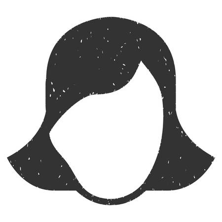 somebody: Lady Face Template grainy textured icon for overlay watermark stamps. Flat symbol with dust texture. Dotted vector gray ink rubber seal stamp with grunge design on a white background.