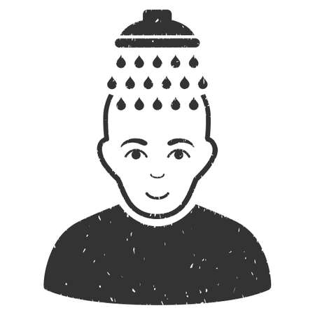 rubber tube: Head Shower grainy textured icon for overlay watermark stamps. Flat symbol with dust texture. Dotted vector gray ink rubber seal stamp with grunge design on a white background.