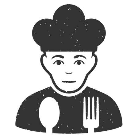Sad Cook grainy textured icon for overlay watermark stamps. Flat symbol with dust texture. Dotted vector gray ink rubber seal stamp with grunge design on a white background. Ilustrace