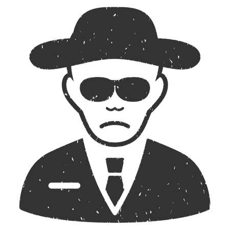 body guard: Security Agent grainy textured icon for overlay watermark stamps. Flat symbol with dust texture. Dotted vector gray ink rubber seal stamp with grunge design on a white background.