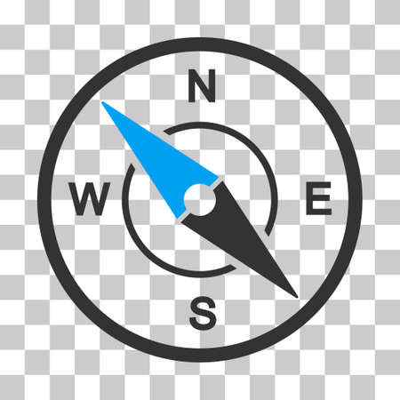 Compass vector icon. Illustration style is flat iconic bicolor blue and gray symbol on a transparent background. Illustration