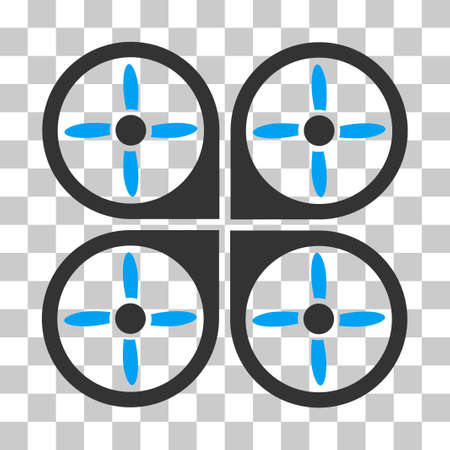 airflight: Copter vector icon. Illustration style is flat iconic bicolor blue and gray symbol on a transparent background. Illustration