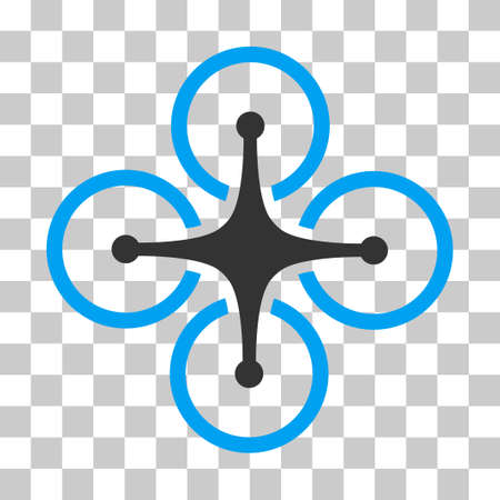 Airdrone vector pictogram. Illustration style is flat iconic bicolor blue and gray symbol on a transparent background. Illustration