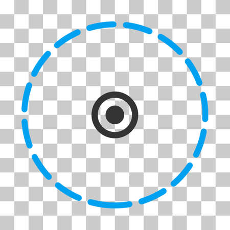 zonal: Round Area vector pictograph. Illustration style is flat iconic bicolor blue and gray symbol on a transparent background. Illustration