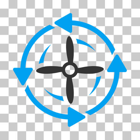 impeller: Screw Rotation vector pictograph. Illustration style is flat iconic bicolor blue and gray symbol on a transparent background. Illustration