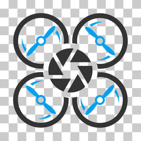 Shutter Drone vector pictograph. Illustration style is flat iconic bicolor blue and gray symbol on a transparent background. Illustration