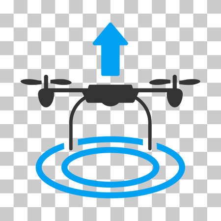 airflight: Start Drone vector pictogram. Illustration style is flat iconic bicolor blue and gray symbol on a transparent background.