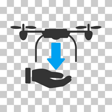 drop down: Unload Drone Hand vector pictograph. Illustration style is flat iconic bicolor blue and gray symbol on a transparent background.
