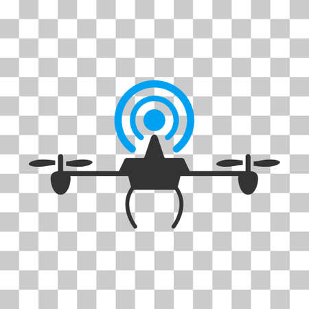 Wifi Repeater Drone vector pictogram. Illustration style is flat iconic bicolor blue and gray symbol on a transparent background. Illustration