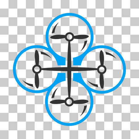 Drone Screws vector pictogram. Illustration style is flat iconic bicolor blue and gray symbol on a transparent background.