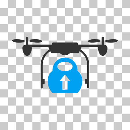 airflight: Load Cargo Drone vector pictogram. Illustration style is flat iconic bicolor blue and gray symbol on a transparent background.