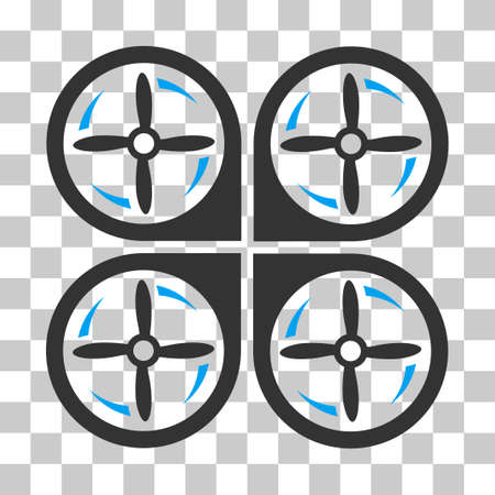 airflight: Quadrotor Screws Rotation vector pictogram. Illustration style is flat iconic bicolor blue and gray symbol on a transparent background.