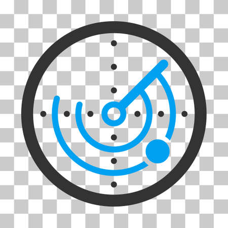 detection: Radar vector icon. Illustration style is flat iconic bicolor blue and gray symbol on a transparent background. Illustration