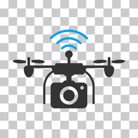 Radio Camera Drone vector icon. Illustration style is flat iconic bicolor blue and gray symbol on a transparent background.