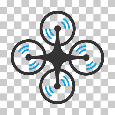 airflight: Quadcopter Screw Rotation vector icon. Illustration style is flat iconic bicolor blue and gray symbol on a transparent background. Illustration