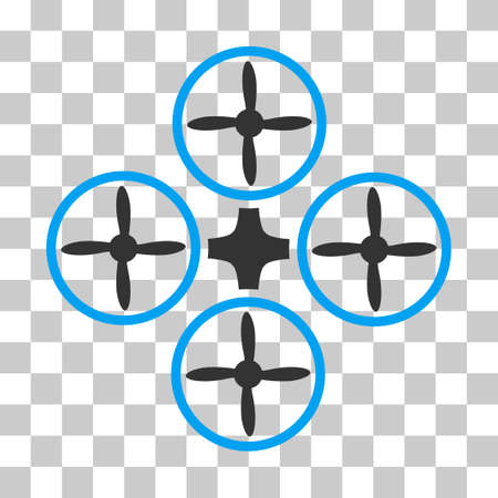 Quadcopter vector icon. Illustration style is flat iconic bicolor blue and gray symbol on a transparent background.