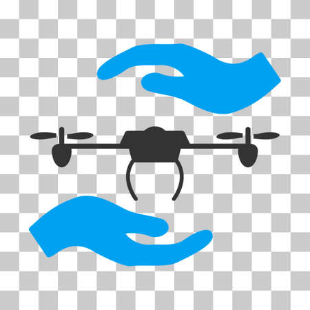 Airdrone Care Hands vector icon. Illustration style is flat iconic bicolor blue and gray symbol on a transparent background.