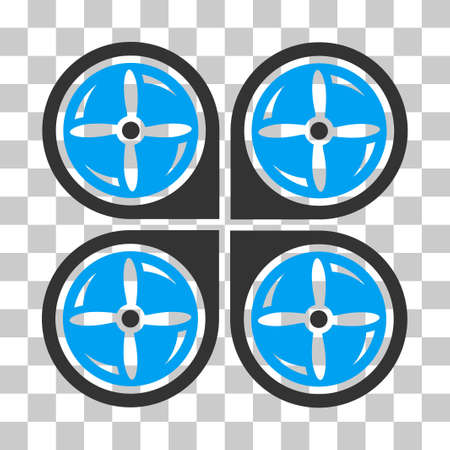 airflight: Nanocopter Screws Rotaion vector pictogram. Illustration style is flat iconic bicolor blue and gray symbol on a transparent background. Illustration