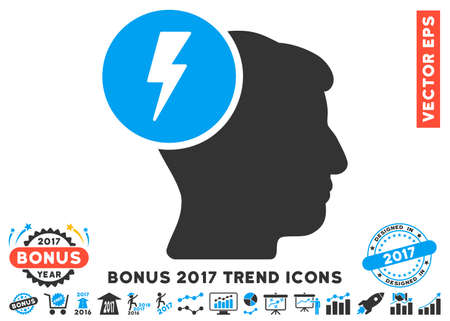 ruch: Blue And Gray Brain Electricity pictograph with bonus 2017 trend symbols. Vector illustration style is flat iconic bicolor symbols, white background.